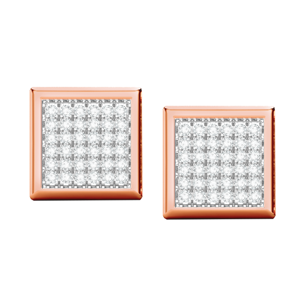 Square multi diamond rose gold stud earrings