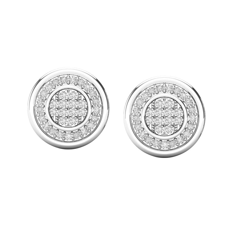 Round multi diamond white gold stud earrings