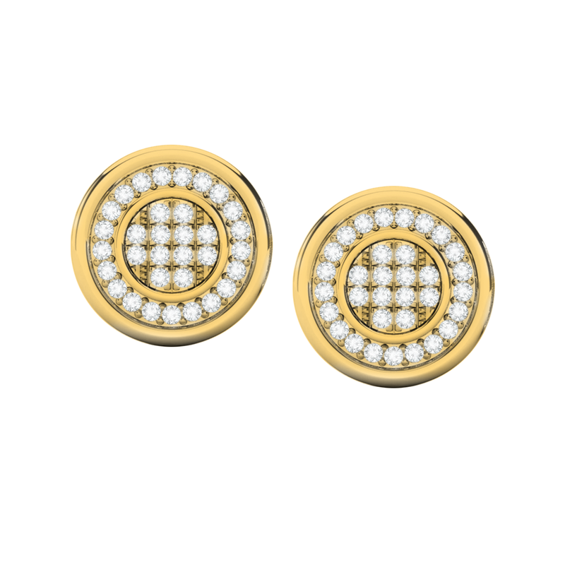 Round multi diamond yellow gold stud earrings