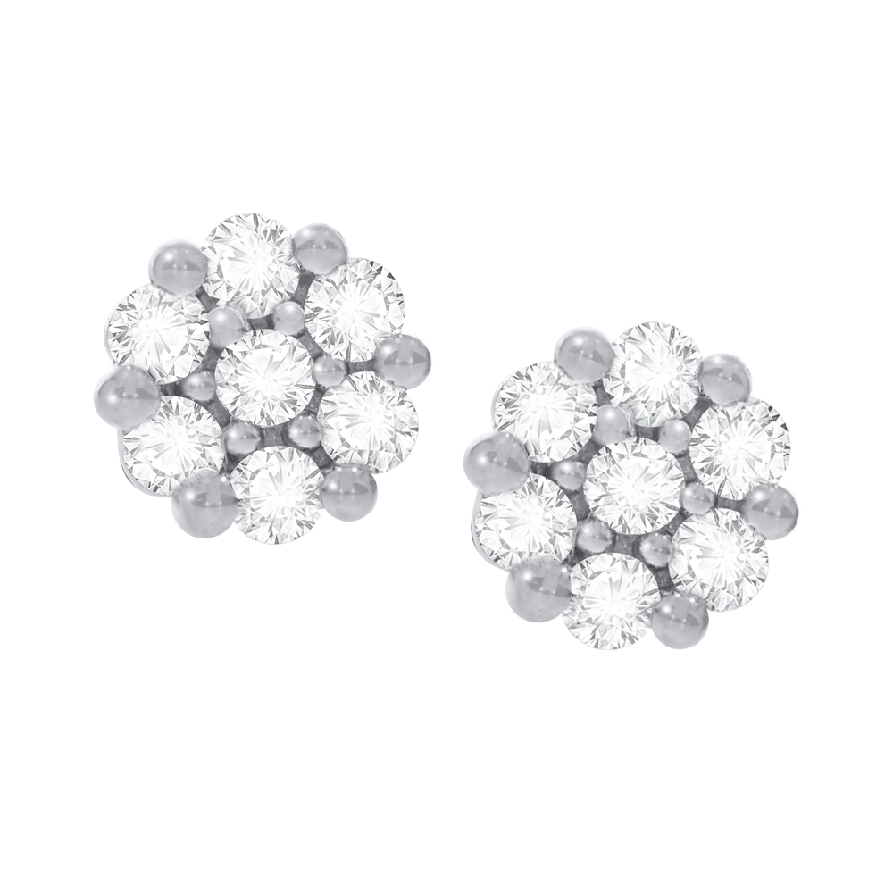 Diamond cluster white gold stud earrings