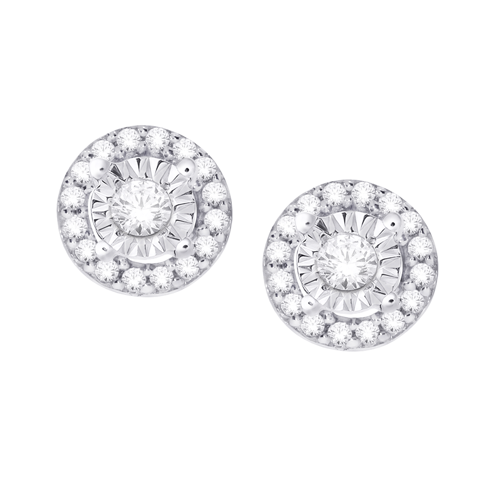 Multi diamond white gold stud earrings