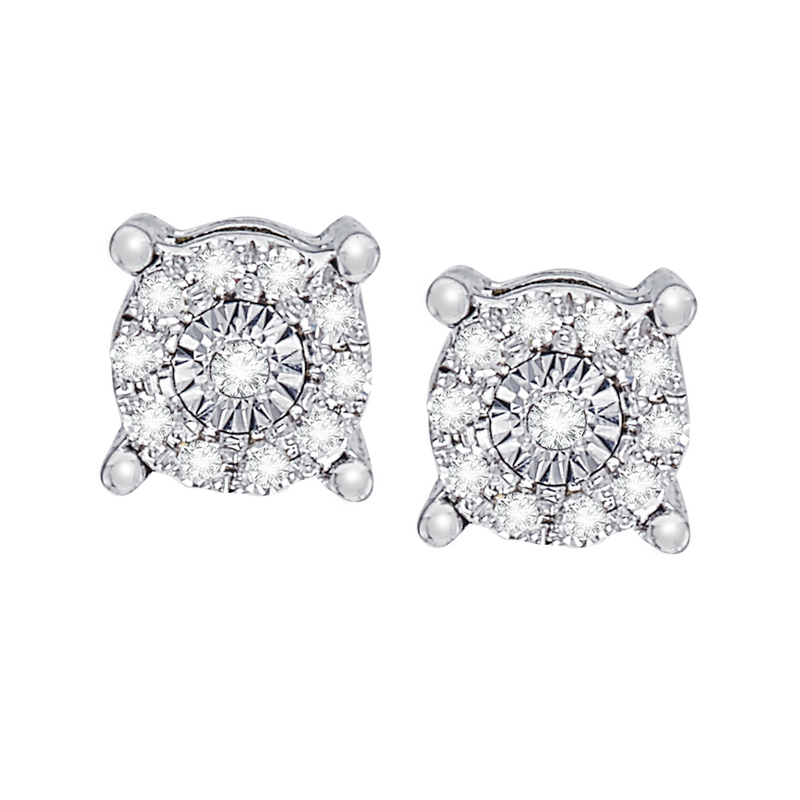 Multi diamond accent white gold stud earrings
