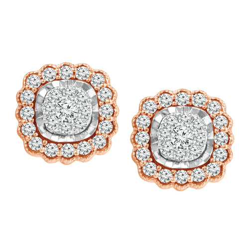 Framed multi diamond earrings