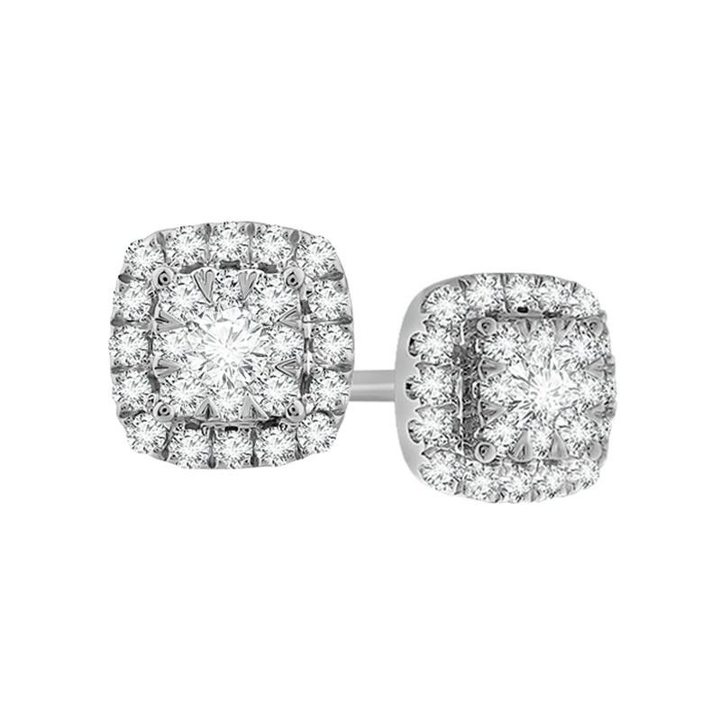 Framed multi diamond white gold stud earrings