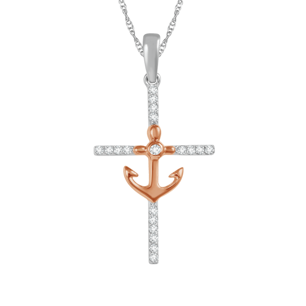 Diamond cross and anchor pendant
