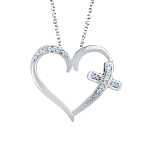 Diamond accent heart with side cross pendant