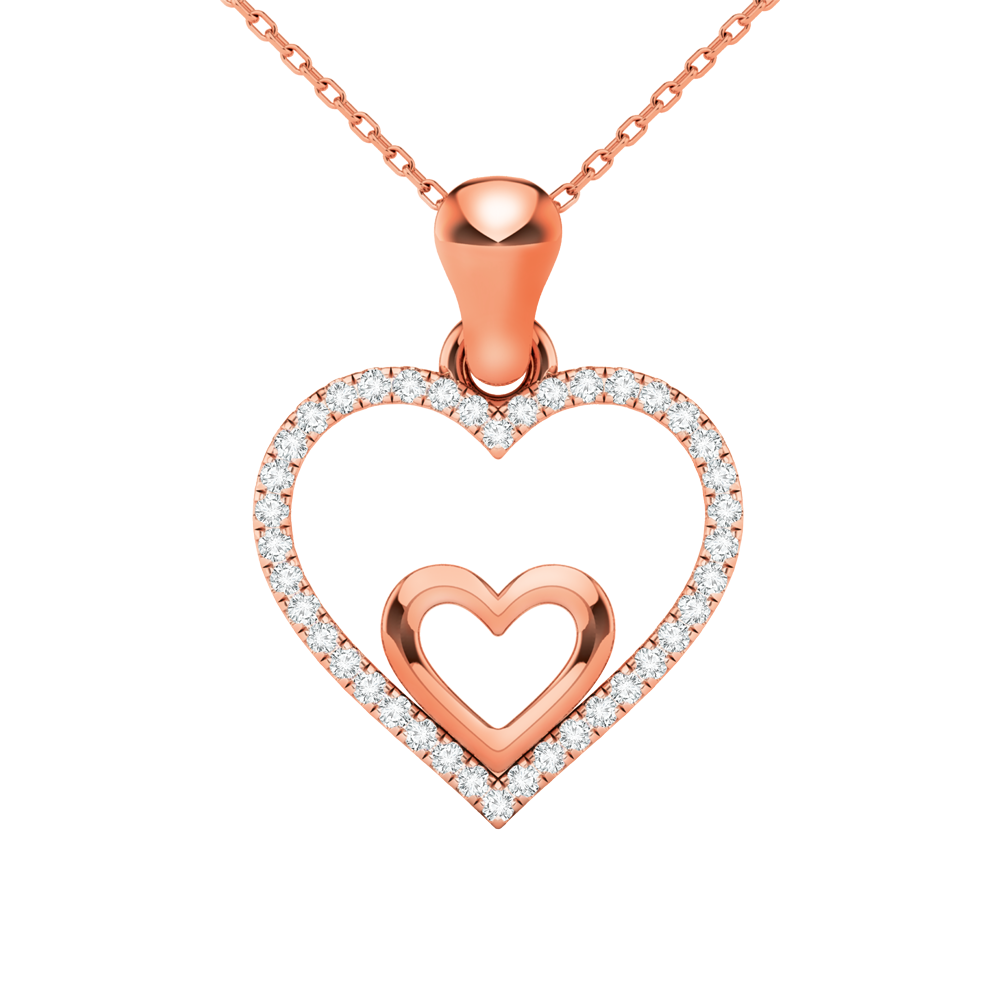 Double heart pendant with diamonds