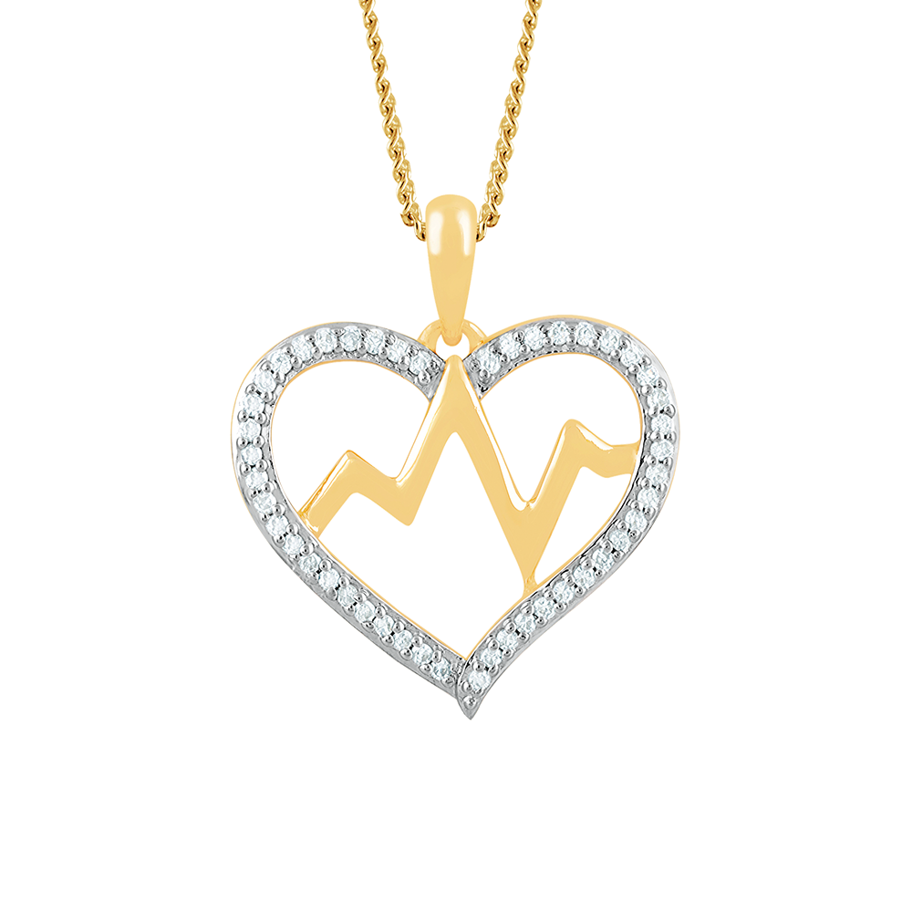 Diamond yellow gold heart pendant