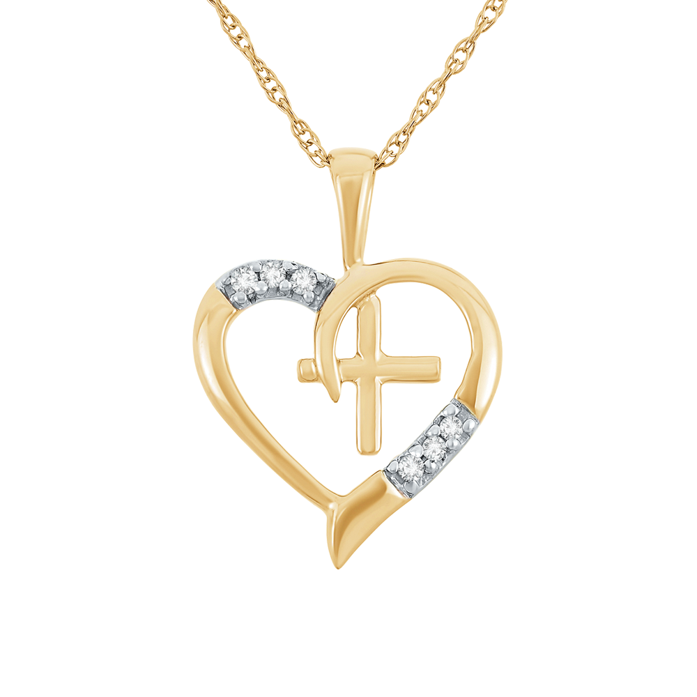Diamond accent heart with cross pendant