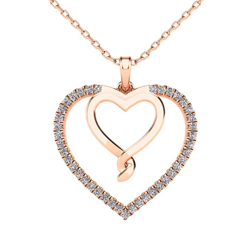 Diamond double heart with a twist pendant