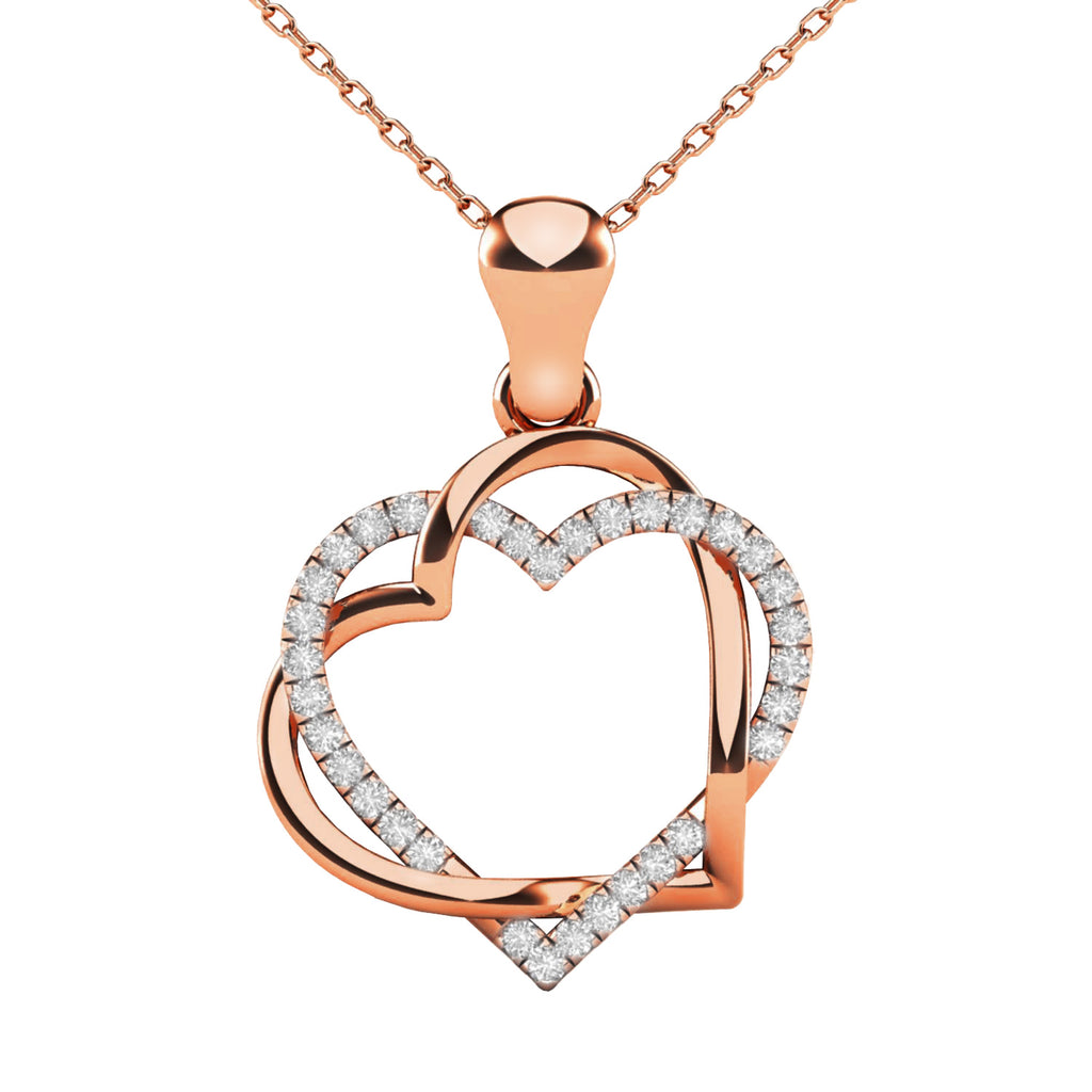 Double heart diamond ladies pendant