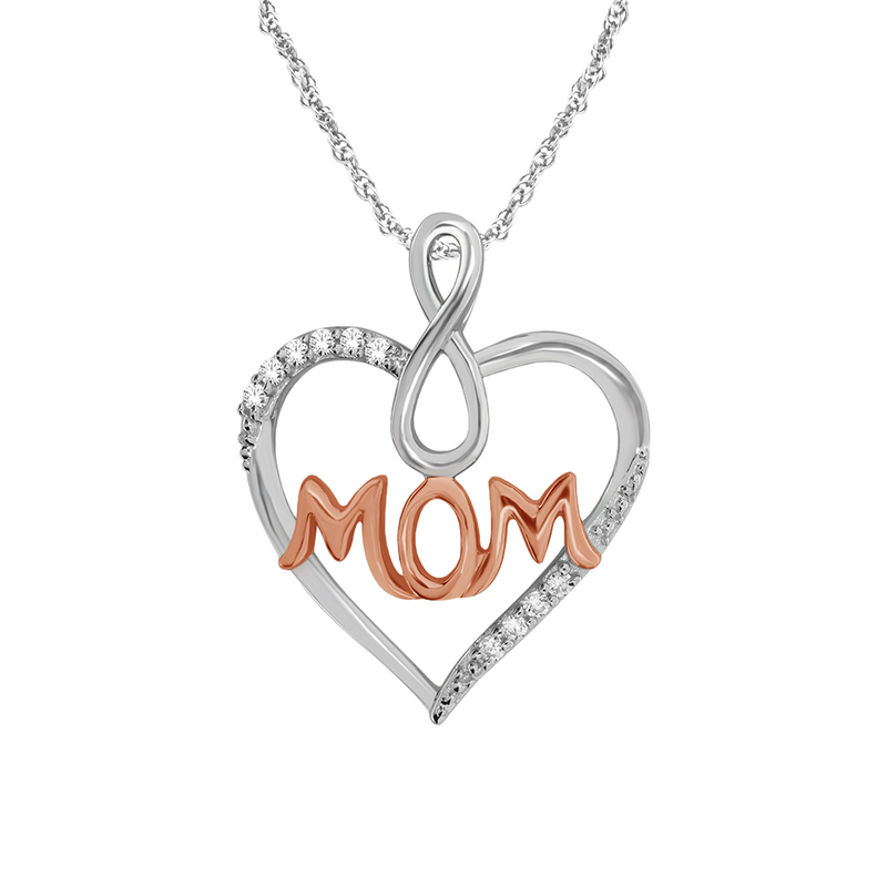 Diamond accent heart MOM pendant