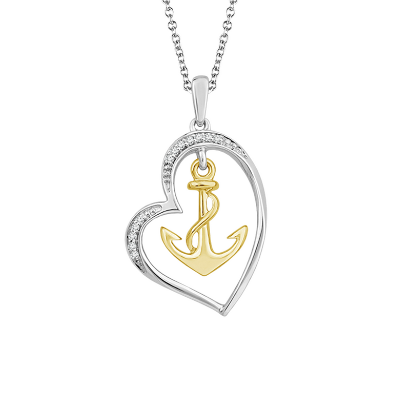 Diamond accent heart and anchor pendant