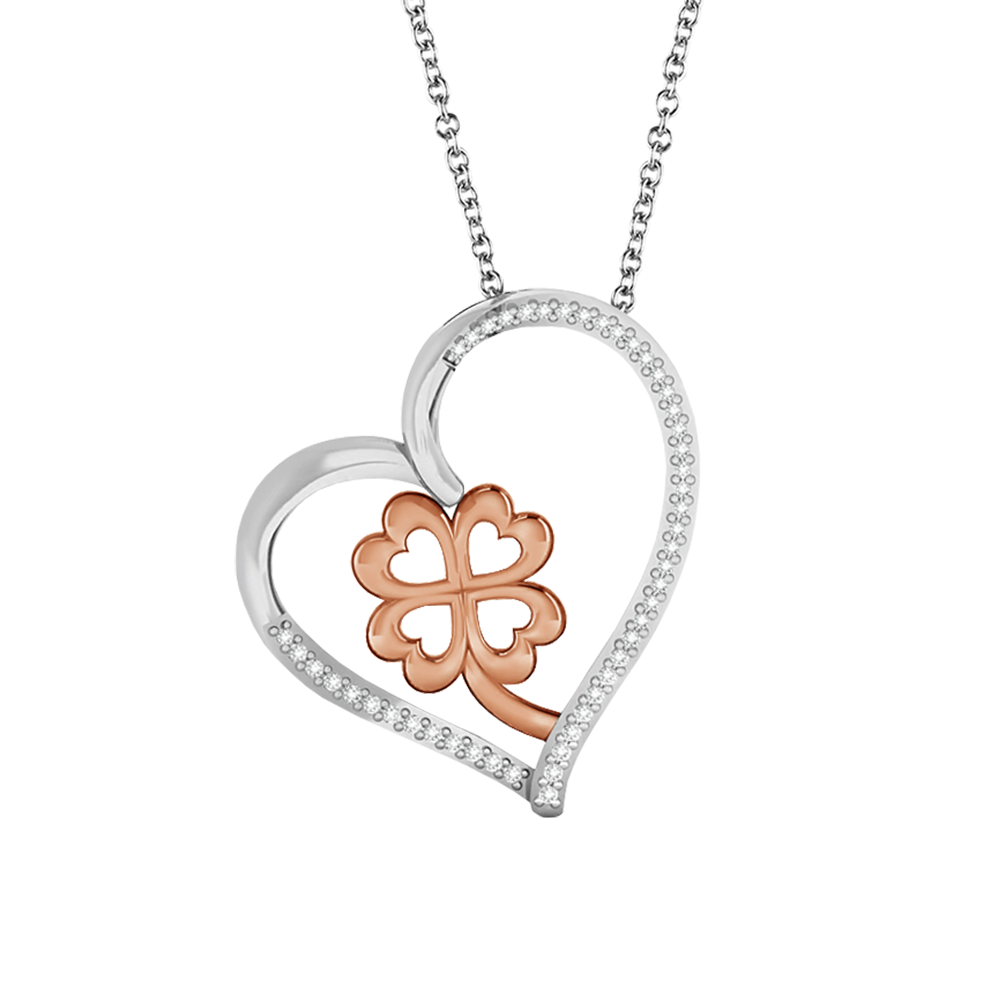 Diamond accent heart pendant with a clover center