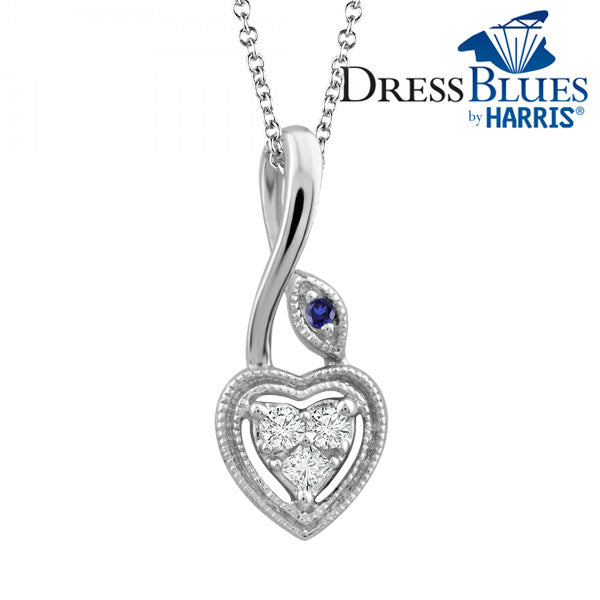 Dress Blues® heart with diamond and blue sapphire