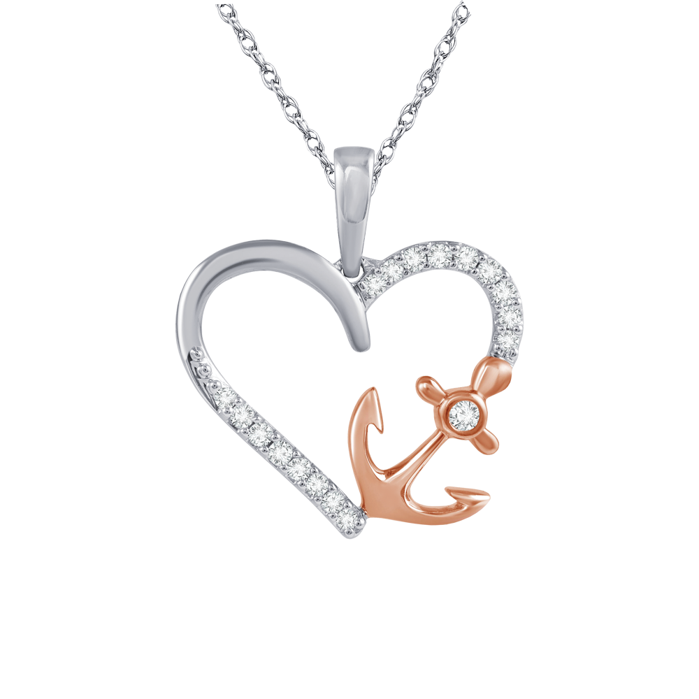 Heart with side anchor pendant