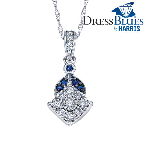 Dress Blues® framed diamond and blue sapphire pendant
