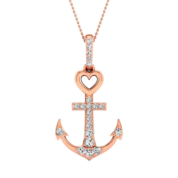 Diamond accent anchor pendant