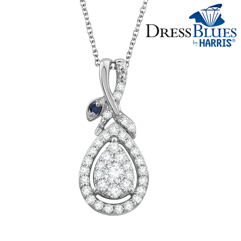 Dress Blues®  pear framed diamond and blue sapphire pendant