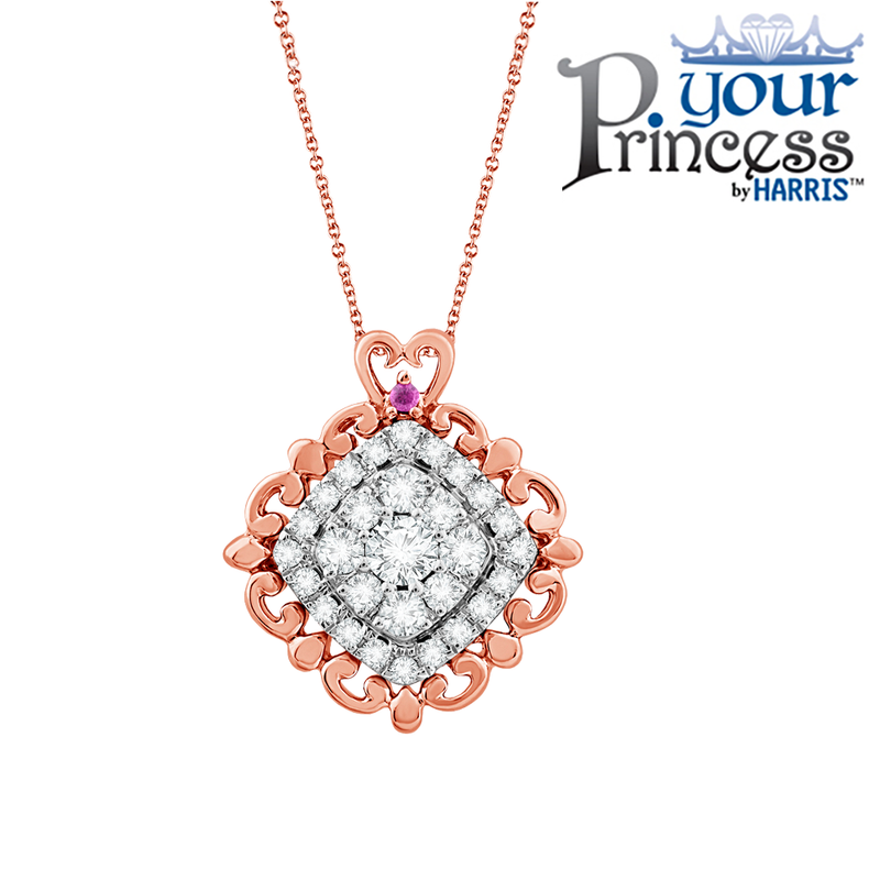 Your Princess™ multi diamond scalloped frame pendant