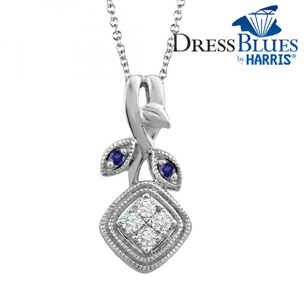 Dress Blues®diamond and blue sapphire accent cushion frame pendant