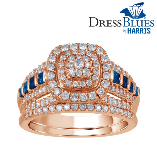 Dress Blues® triple framed diamond and blue sapphire bridal set