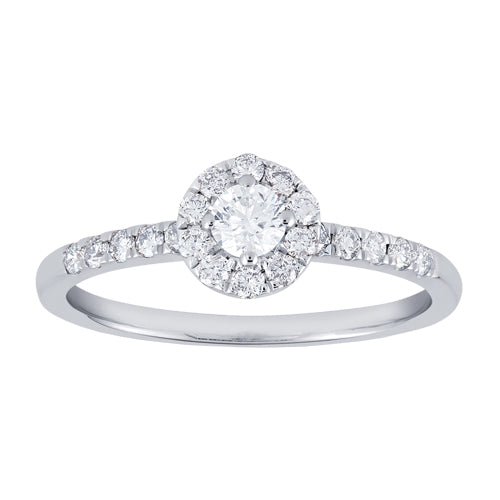 Framed round diamond engagement ring