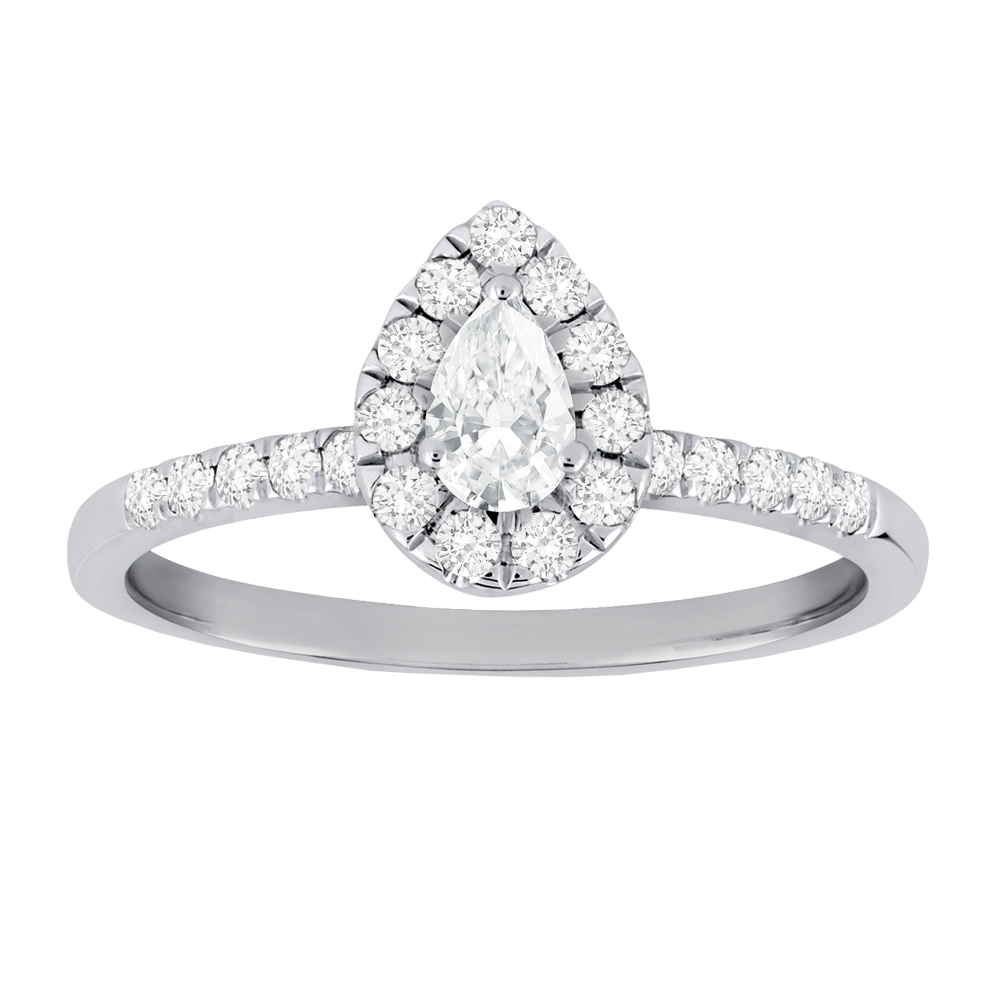 Framed pear-shaped diamond engagement ring