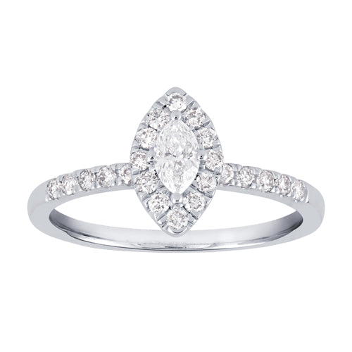 Framed marquise-shaped diamond engagement ring