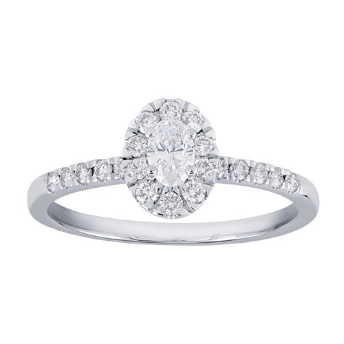 Framed oval-shaped diamond engagement ring