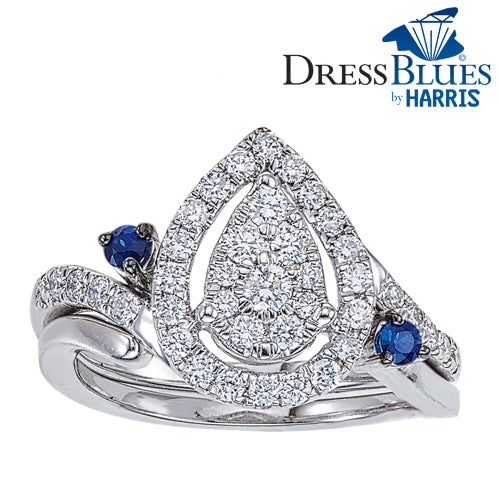 Dress Blues®pear framed diamond and blue sapphire interlocking bridal set