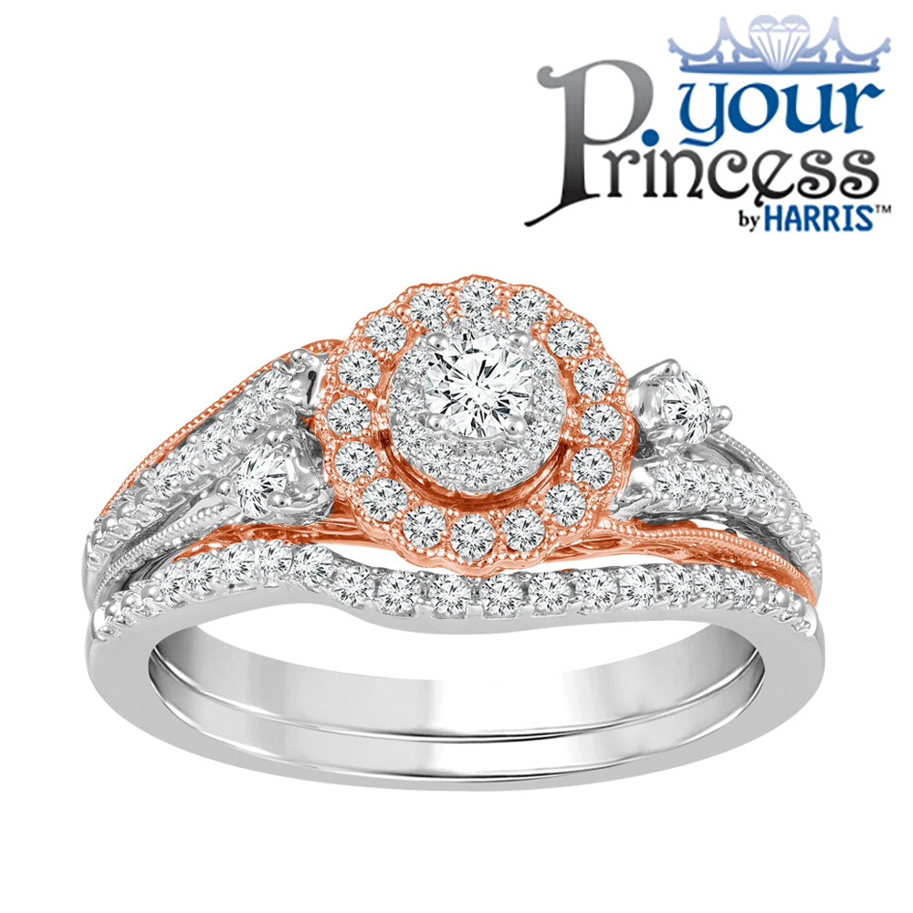 Your Princess ™ scallop framed diamond bridal set