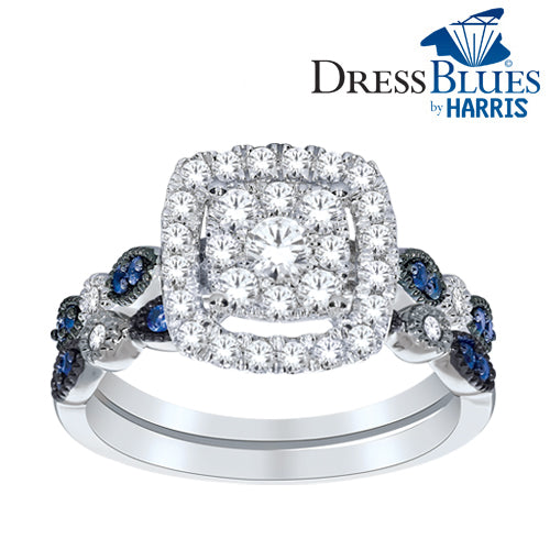Dress Blues® double framed diamond and blue sapphire bridal set