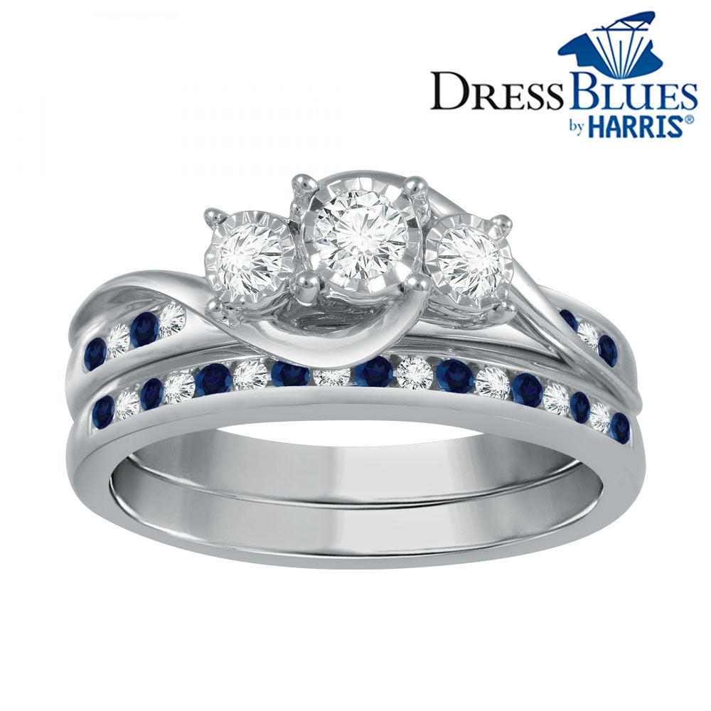 Dress Blues®Diamond and blue sapphire three-stone bridal set