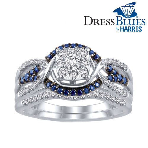 Dress Blues® framed diamond and blue sapphire bridal set