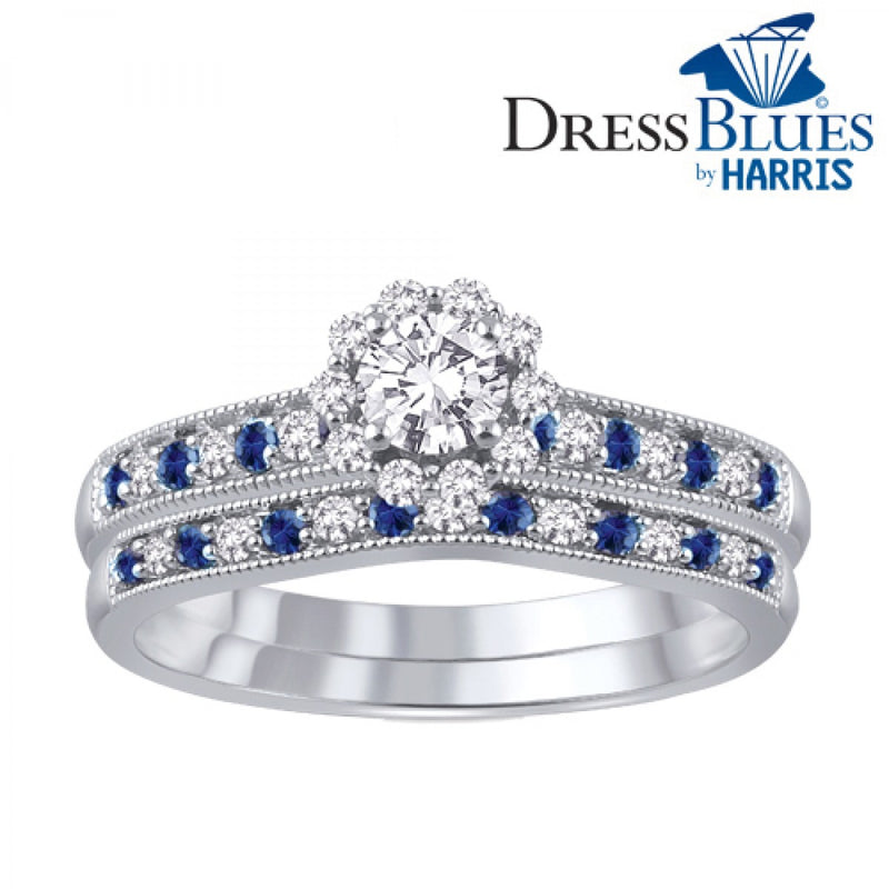 Dress Blues® diamond and blue sapphire bridal set