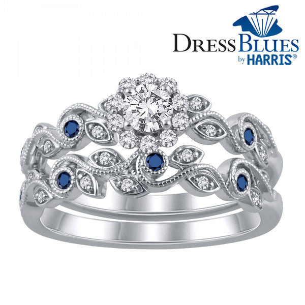 Dress Blues® framed diamond swirled filigree bridal set
