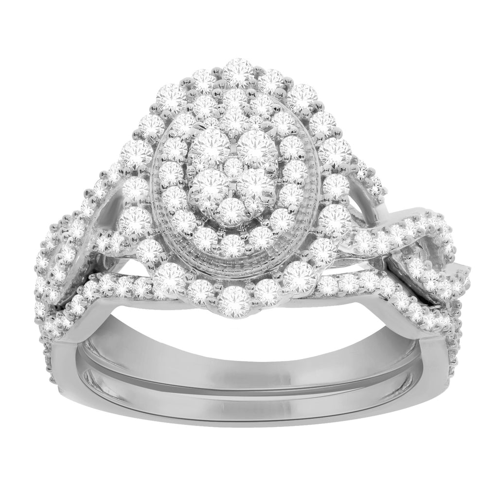 Oval framed diamond bridal set