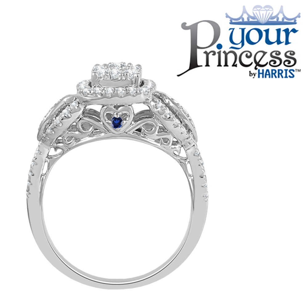 Your Princess™ framed diamond and blue sapphire bridal set