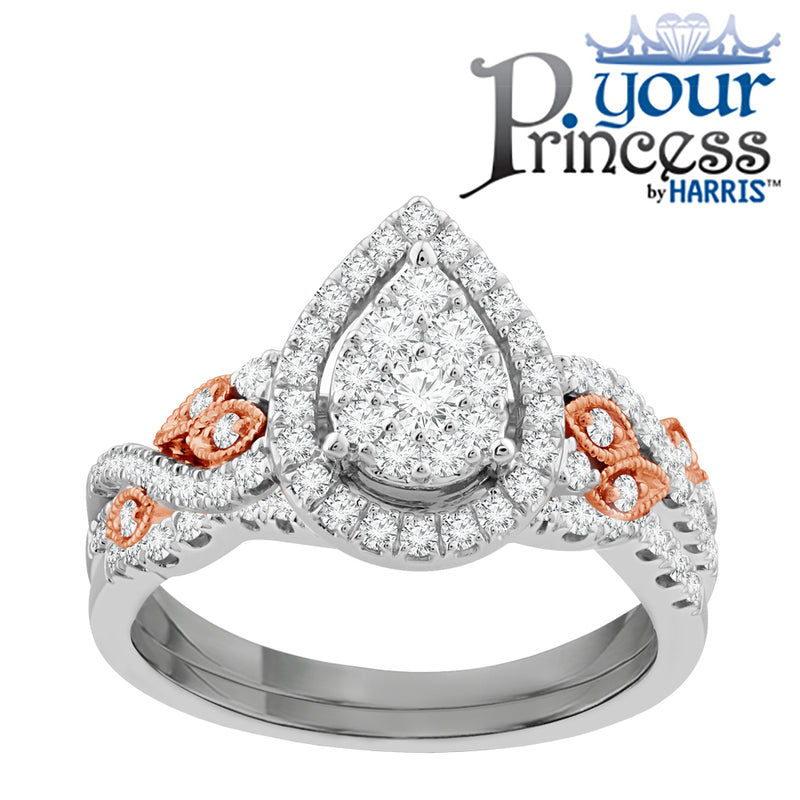 Pear framed multi diamond bridal set