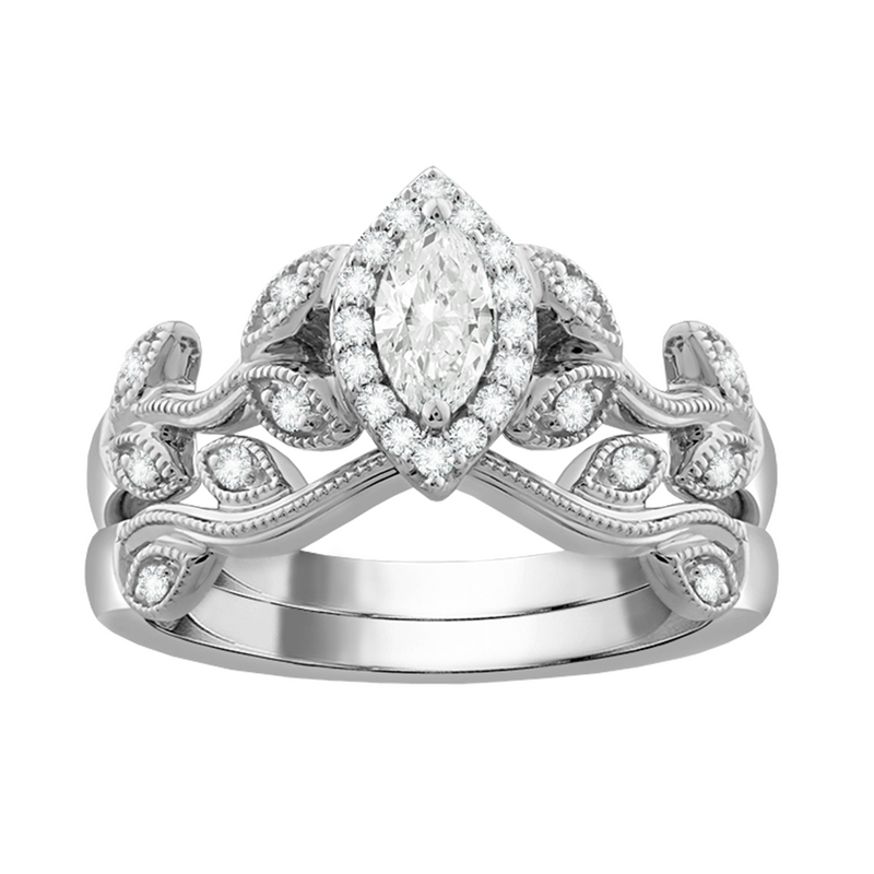 Marquise diamond swirled filigree bridal set