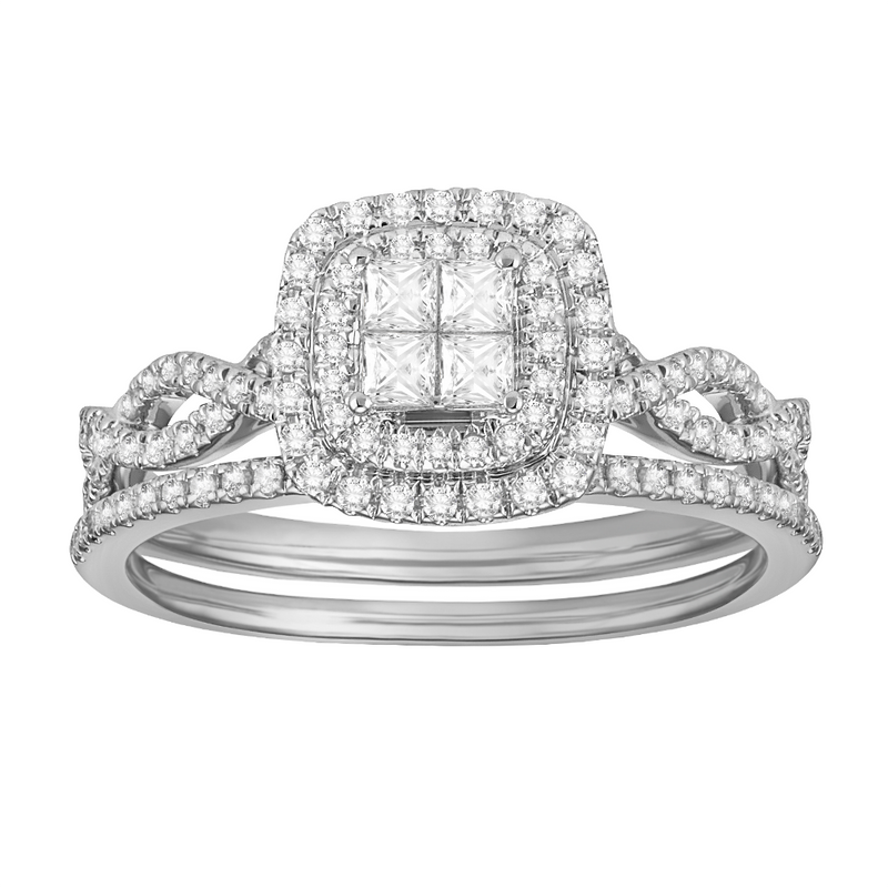 Double framed princess-cut quad diamond bridal set