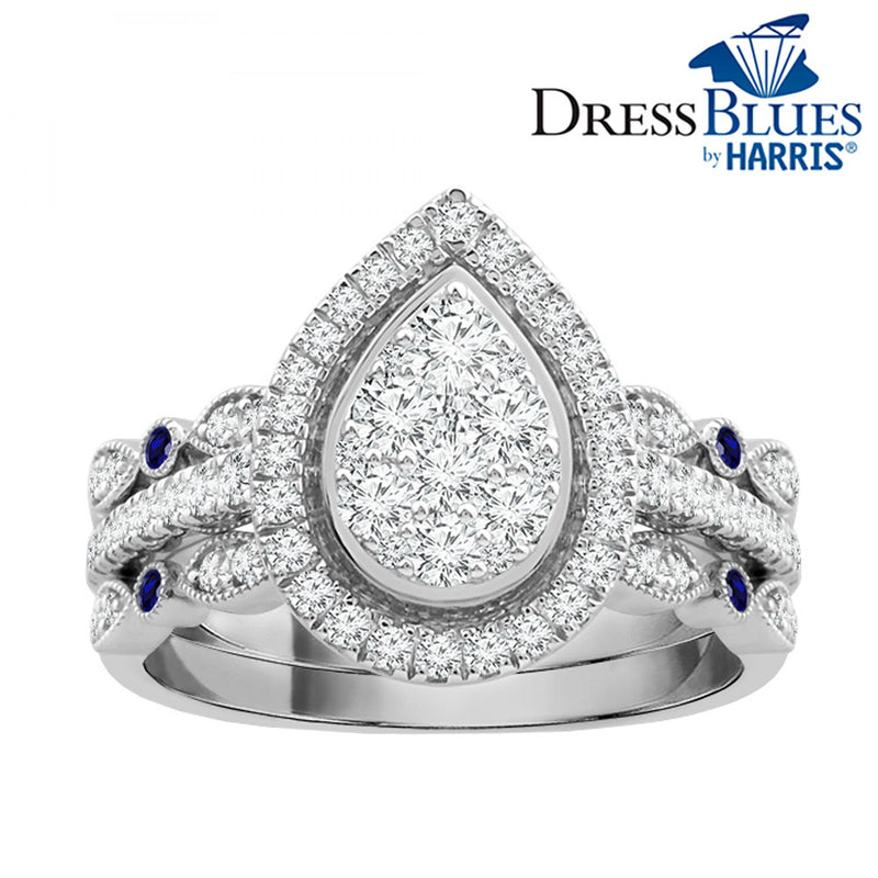 Dress Blues® pear framed diamond and blue sapphire three piece bridal set