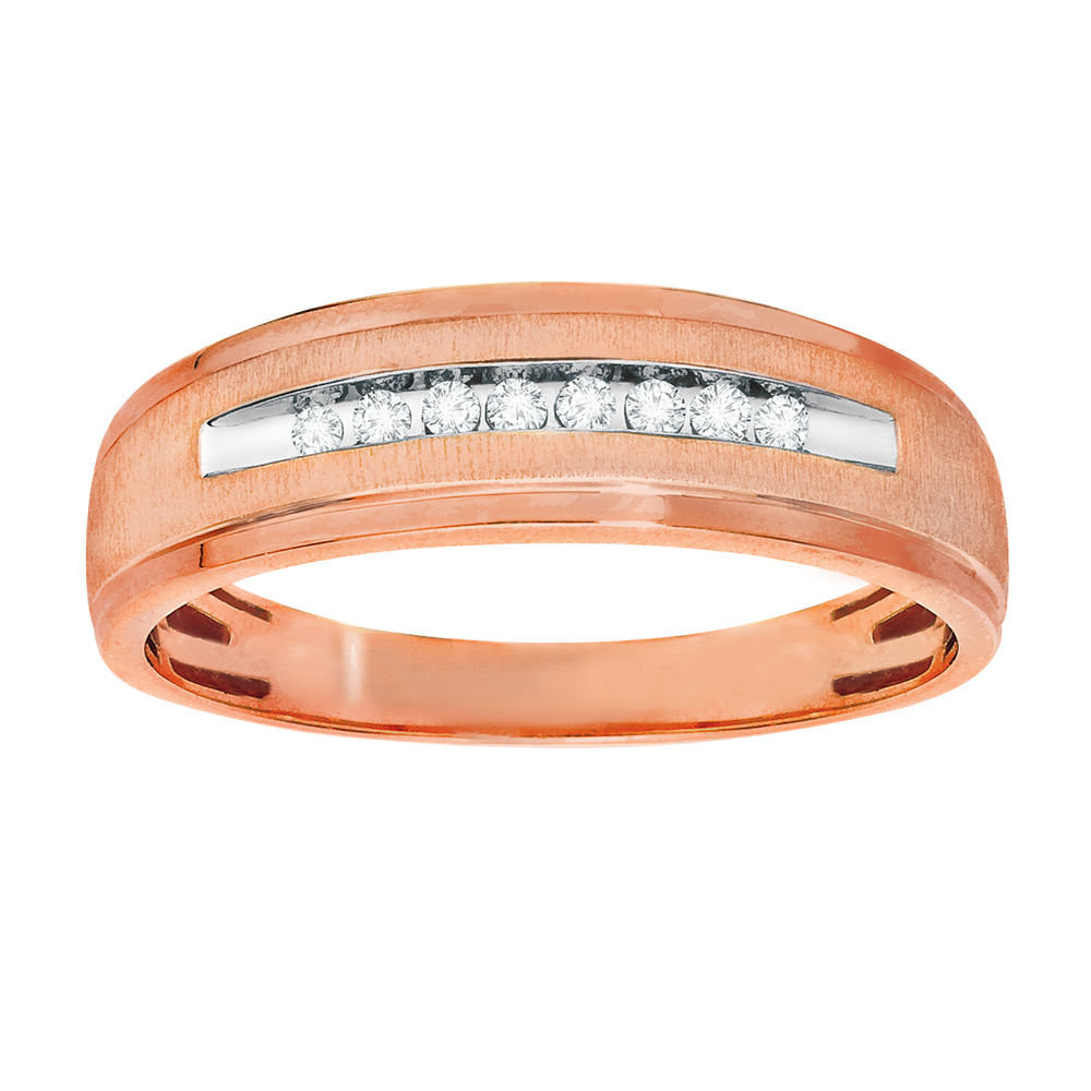 Rose gold with diamonds men's band