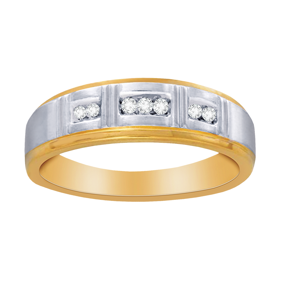 Two-tone gold with diamonds men's band