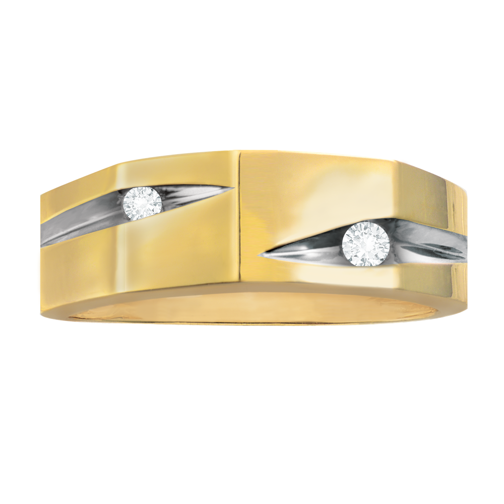 Yellow gold with diamonds men's band