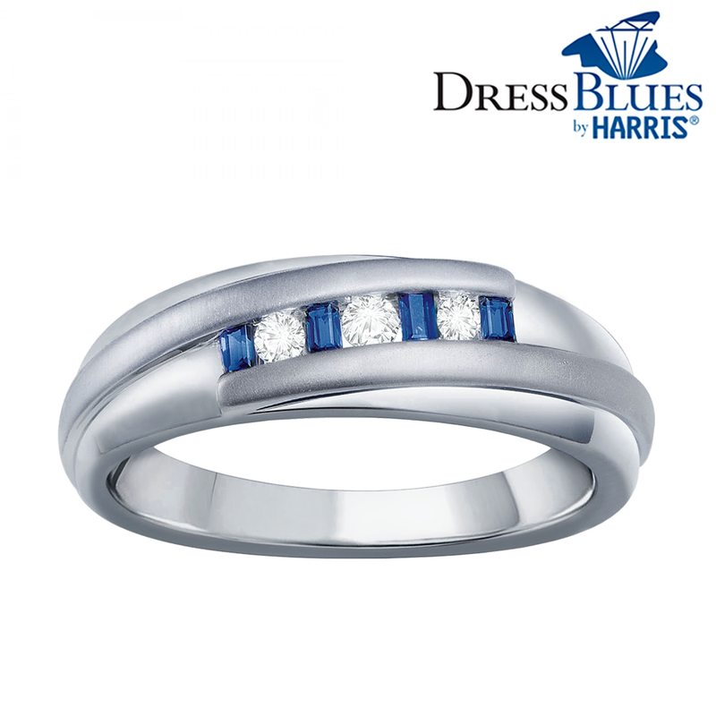 Dress Blues® white gold with diamonds and sapphires men's band