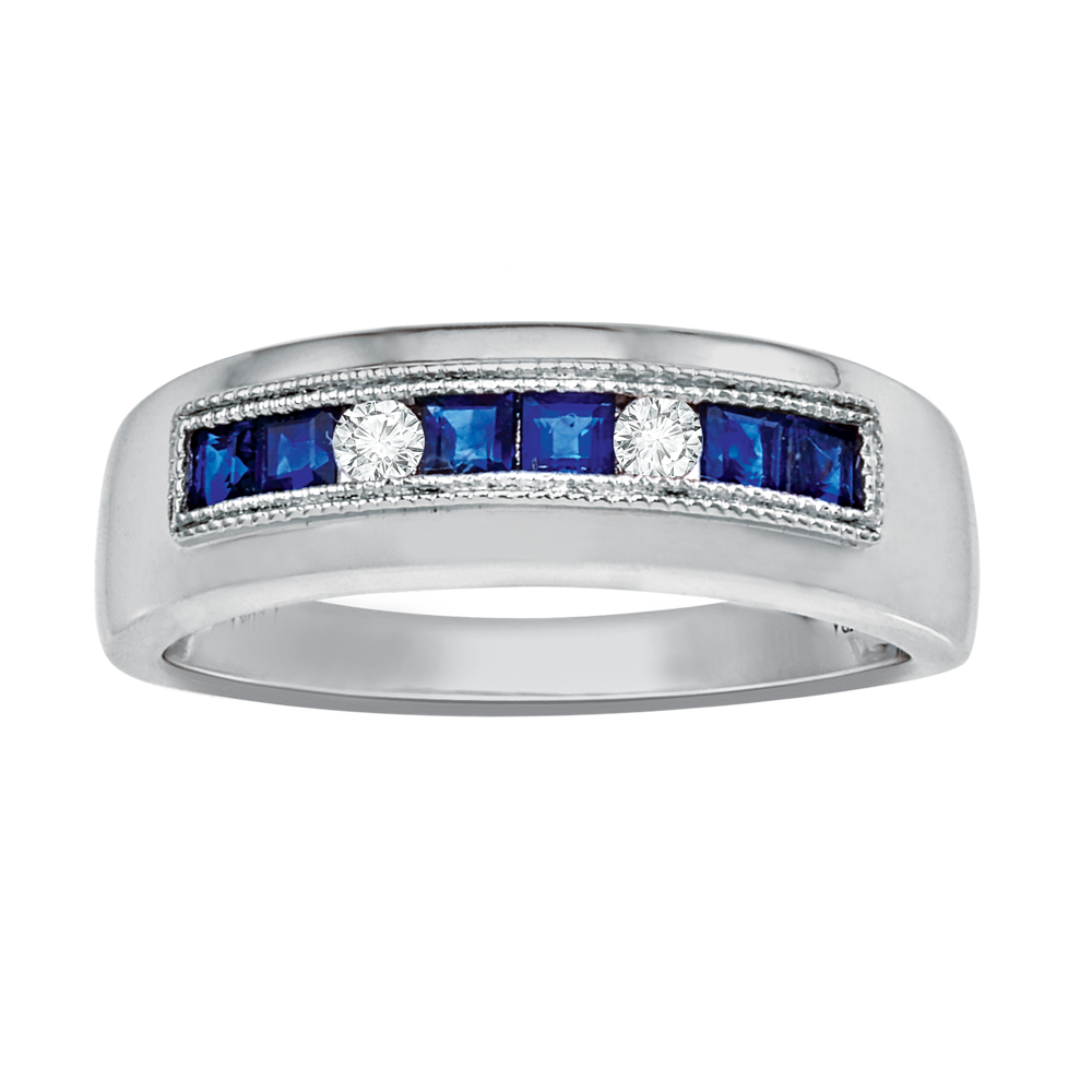 Dress Blues® white gold with diamonds and blue sapphires men's band