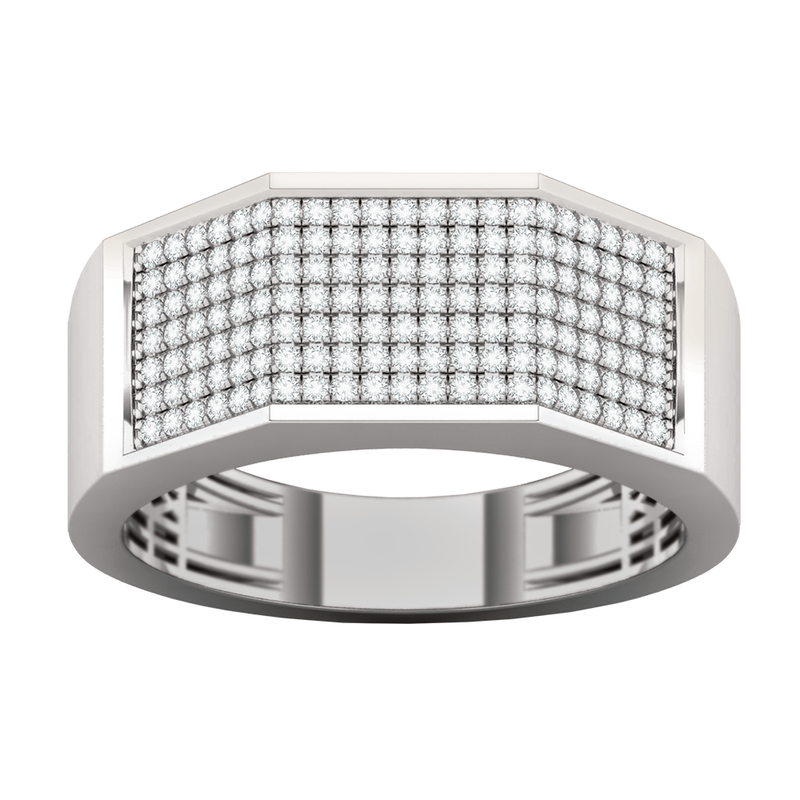 White gold with multi diamonds men's band