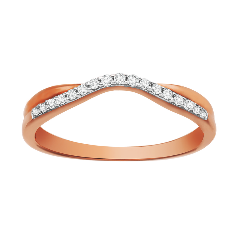 Rose gold with diamonds curved ladies wedding band